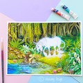 "Large art print ""An Enchanted Encounter"" fantasy watercolour art print"