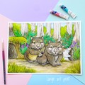 """Giclee fine art print """"Two's Company"""" Wombats, watercolour painting"""
