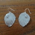 Recycled Silver Australian Leaf Earrings with Aquamarine Gems