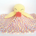 Duck lovey with pastel blanket. Toddler cuddle toy.
