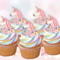 12x EDIBLE wafer  Unicorn with flowers cupcake toppers cut outs