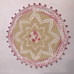 Pretty Pink Doily edged with beads