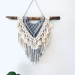 Macrame wall hanging (grey/cream)