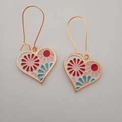 Gold white red blue and pink heart floral fashion dangle earrings