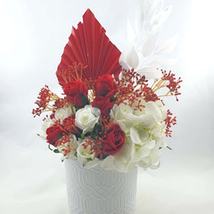 Red & White Artificial Flower & Palm  Arrangement  - Christmas Gift for Mum