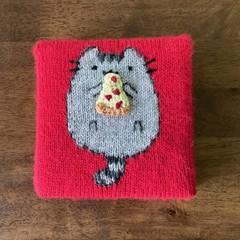 Cute Wall Art | Handknit! | Pusheen hearts Pizza | Santa gift kids present