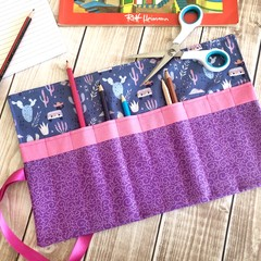 Purple and Pink Llama Pencil Roll