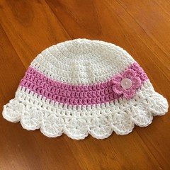 Pretty Pink and White Crocheted Hat