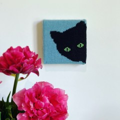 Cute Wall Art | Handknit! | Black cat