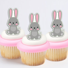 14x EDIBLE wafer cute bunny cupcake toppers cut outs