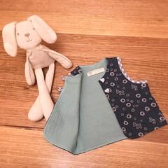 Kid's open vest top waistcoat in daisy print denim
