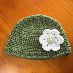 Green and White Crocheted Baby Hat