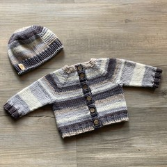 Handknit cardi and hat | Gift set for new baby | Unique and soft | Neutrals