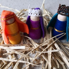 Nativity Set Peg Dolls The Three Wise Men *Christmas Tradition