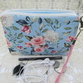Women's Wristlet/Cosmetic/Jewelery Pouch - Blue Floral