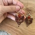 Boho earrings, macrame earrings with carnelian, brown earrings
