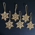 Six Gold Hand Crocheted Lacy Snowflake Tree Decorations