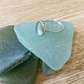 Sea glass bezelled ring, gold and silver