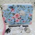 Women's Wristlet/Cosmetic/Jewelery Pouch - Blue Floral