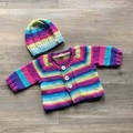 Handknit cardi and hat | Gift set for new baby | Unique and soft