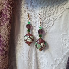 Wild Mulberry Earrings - purple, green and silver foil lampwork beads
