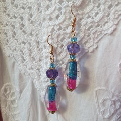 Voodoo Fushsia  Earrings - lavender, turquoise and fushsia glass beads