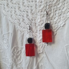 Toffee Apple Earrings - red, black and clear glass beads