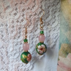 Heirloom Blush Earrings - soft pink glass and emerald cloisonne beads