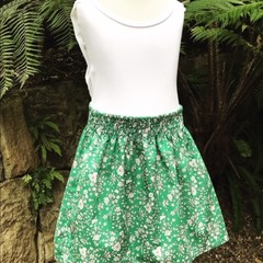 Green and white flowers girls skirt