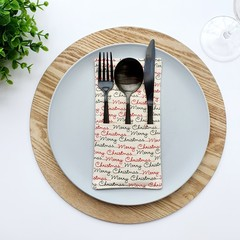 Table Décor | Set of 4 |  Scandi Merry Christmas | Cutlery Holders