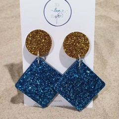 Large Funky Drop Dangles - Gold & Blue