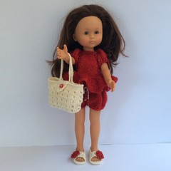 Outfit for Doll Corolle or Paola Reina - Peplum Top, Shorts, Bag and Sandals