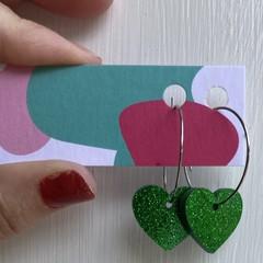 Glitter heart hoops