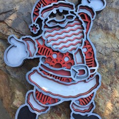 3D Mandala Christmas Santa. 210mm wide x 295mm tall.