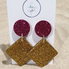 Large Funky Drop Dangles - Pink & Gold