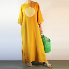 Screen Printed Kaftan Cover Up in Golden Mustard Cotton Cheese Cloth