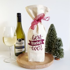 Wine  Bottle Gift Bag | Best Teacher Ever | Zero Waste | Free Shipping