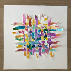 Paper weaving 2- original watercolour collage