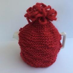 Tea Pot Cosy - Knitted - Red - Plus Tea Pot