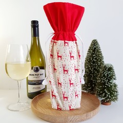 Wine Bottle Gift Bag   Scandi Christmas   Zero Waste   Free Shipping