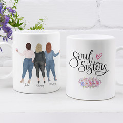 Curvy Best Friends Sisters Personalised Ceramic Coffee Tea Mug Cup - CM022