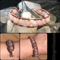 Rose quartz & Copper Cuff