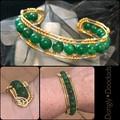Green agate & gold Cuff