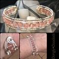 Strawberry quartz & silver Cuff