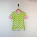 Chartreuse / Lime Green Cotton Flower T-shirt with Pink Trim / Bands
