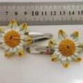 Earthy Coloured Hair Clips - Fabric Flower Hair Snap Clips