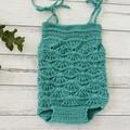 Crochet Maddie Mermaid Romper, Baby Girls Playsuit, Size 0000 000