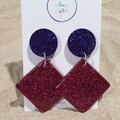 Large Funky Drop Dangles - Pink & Purple