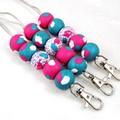 Hot Pink & Turquoise Lanyard