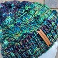 Handmade knitted green  cable beanie men's or ladies wool